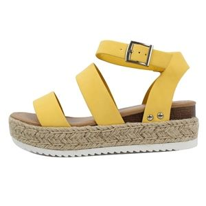Lemo Open Toe Strappy Ankle Strap Espadrille Wedge